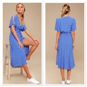 Lulu's Maretta Floral Print Wrap Midi Dress XS